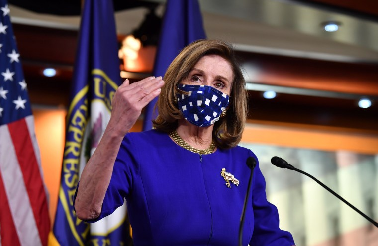 Image: House Speaker Nancy Pelosi during her weekly press briefing on Capitol Hill