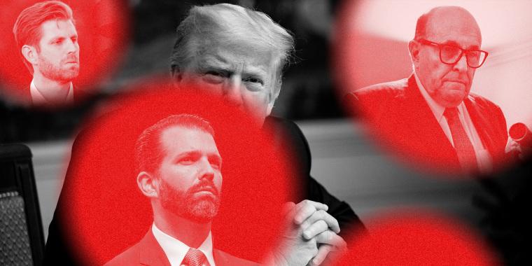 Image: Donald Trump behind red circles with images of Eric Trump, Donald Trump Jr. and Rudy Giuliani
