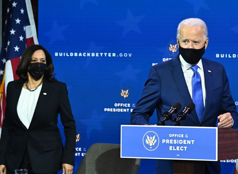 Image: President-elect Joe Biden, arrives with Vice-President-elect Kamala Harris at The Queen Theater in Wilmington