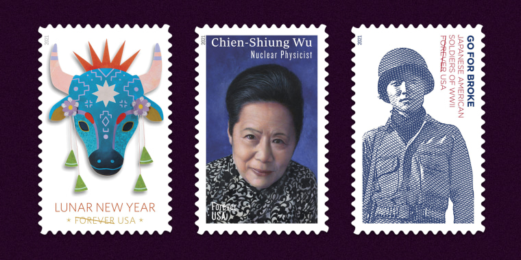 Three of the Postal Service's 2021 stamps will honor Lunar New Year, the Chinese American nuclear physicist Chien-Shiung Wu and Japanese Americans who fought in World War II.