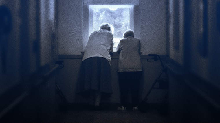 Image: Sr. Jeanne Fregeau and Sr. Gloria Cote, who both recovered from Covid earlier this year, talk outside their rooms at the St. Chretienne Retirement Residence in Marlborough, Mass., on Aug. 26, 2020.