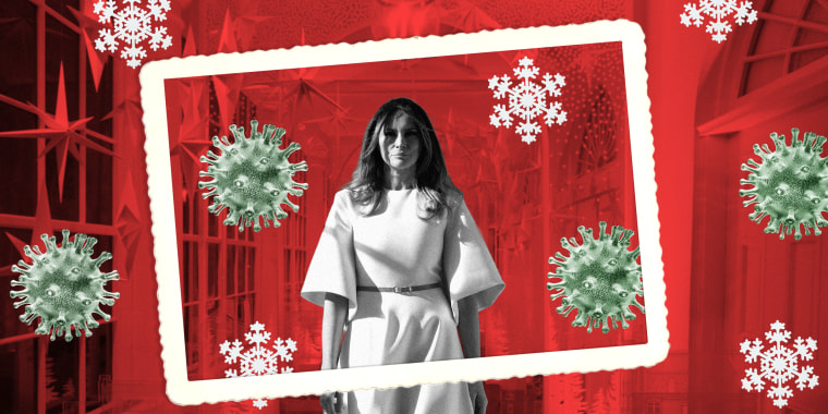 Image: Melania Trump is surrounded by coronavirus and snowflakes and a picture frame as she walks through the decked White House hall