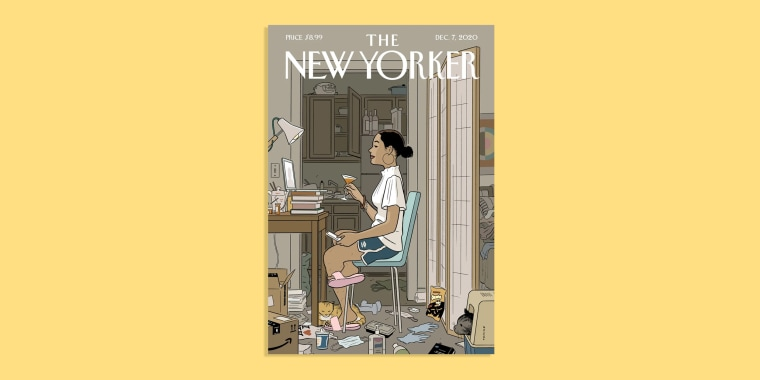 Image: Illustrated cover of the New Yorker on a yellow background. The cover features a girl in front of a laptop holding a glass in her apartment.
