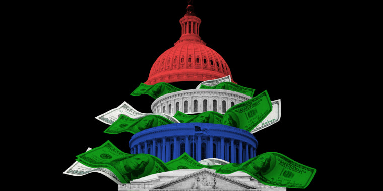 Image: Dollar bills coming out from the divided sections of the Capitol building, top section is red, middle section is white and the third section is blue.