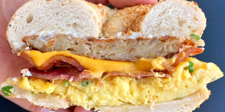 Bacon, Egg, Cheese and Latke Bagel Sandwiches