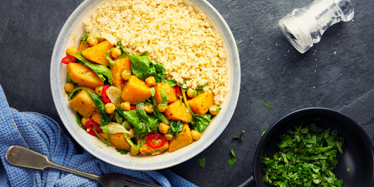butternut squash and chickpea thai green curry with quinoa