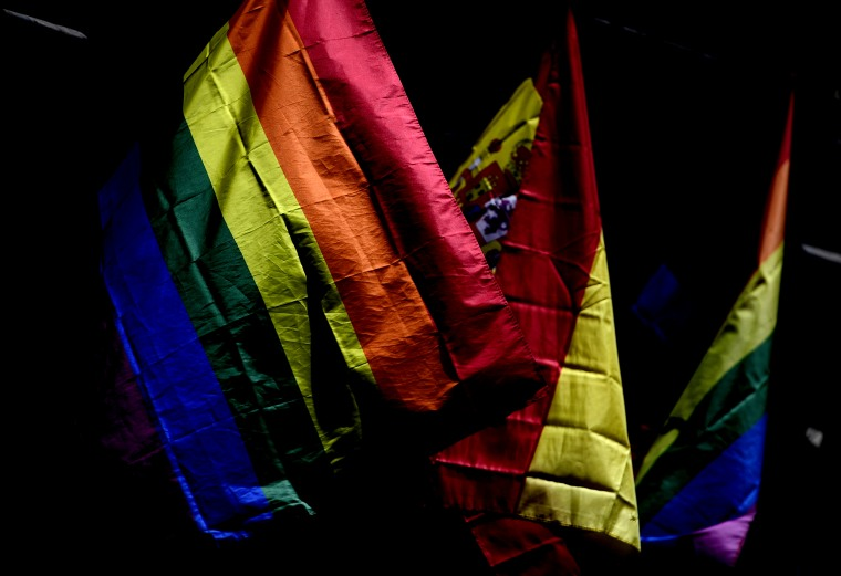 Image: Rainbow flags on the eve of Madrid's WorldPride on June 23, 2017.