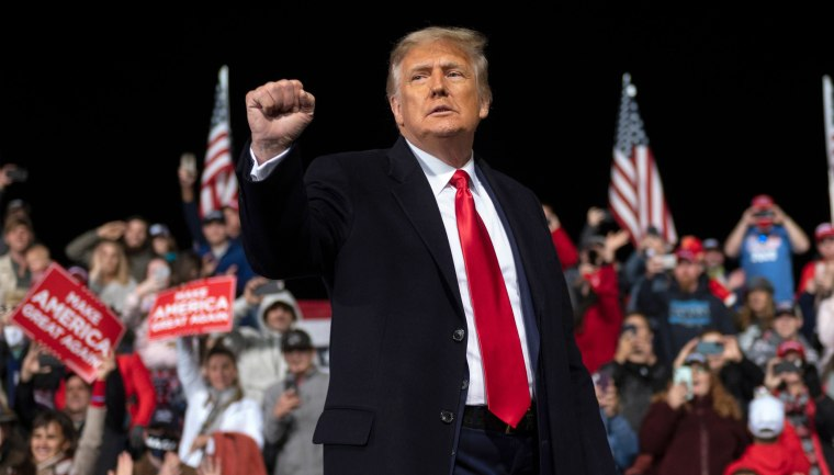 Image: President Donald Trump holds up his fist as he leaves the stage at the end of a rally to support Republican Senate candidates at Valdosta Regional Airport in Valdosta