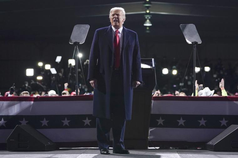 Image: President Donald Trump speaks at a campaign rally for Senate Republican candidates, Sen. Kelly Loeffler, R-Ga., and Sen. David Perdue, R-Ga., at Valdosta Regional Airport