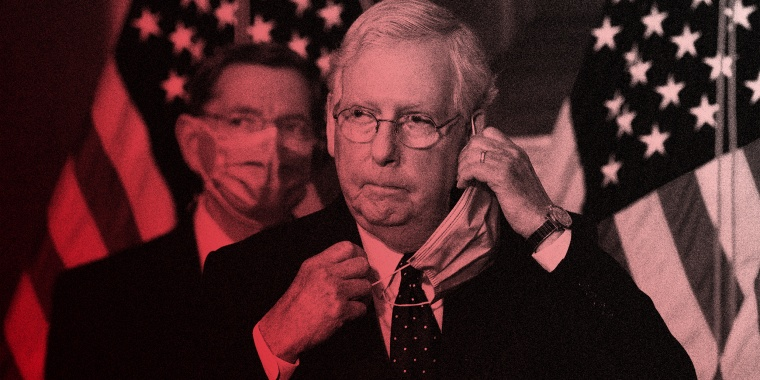 Image: Mitch McConnell taking off his mask