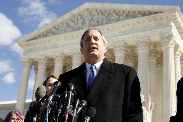 Image: FILE PHOTO: Texas Attorney General Ken Paxton addresses reporters on the steps of the U.S. Supreme Court in Washington