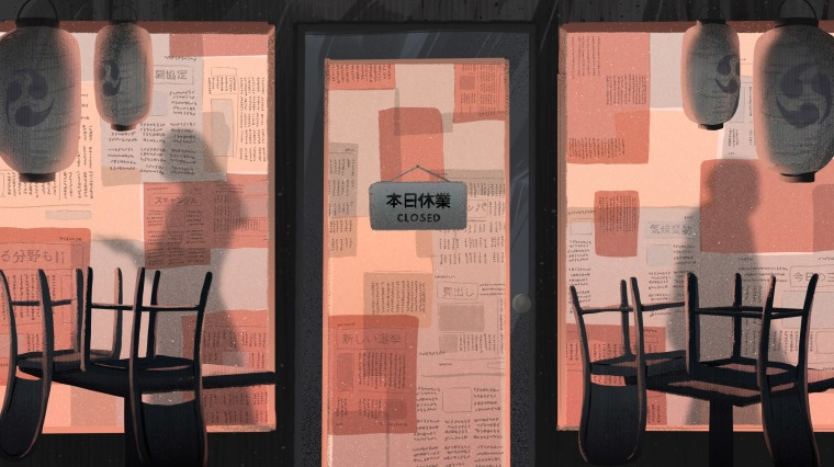 Image: Illustration of a view from inside a Japanese restaurant, with paper over the windows, chairs on tables, and silhouettes of people walking outside.