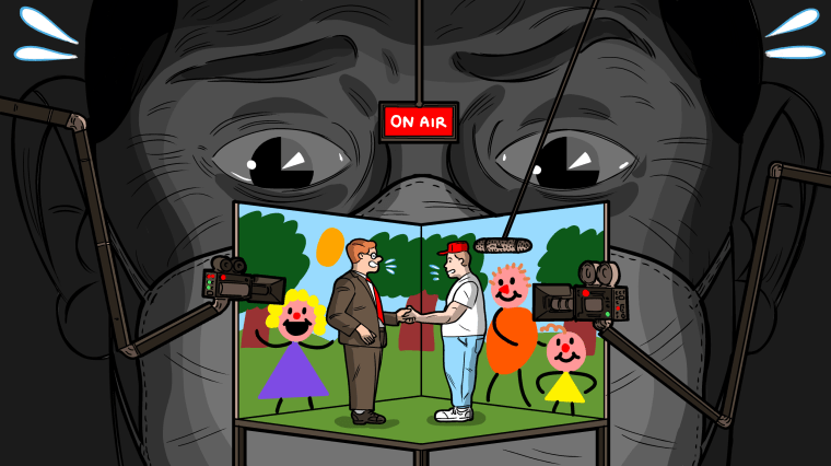 Image: A man in a mask, in shadow, watches a stage set showing a man in a MAGA hat being interviews by a newscaster surrounded by trees and happy children as cameras record them.