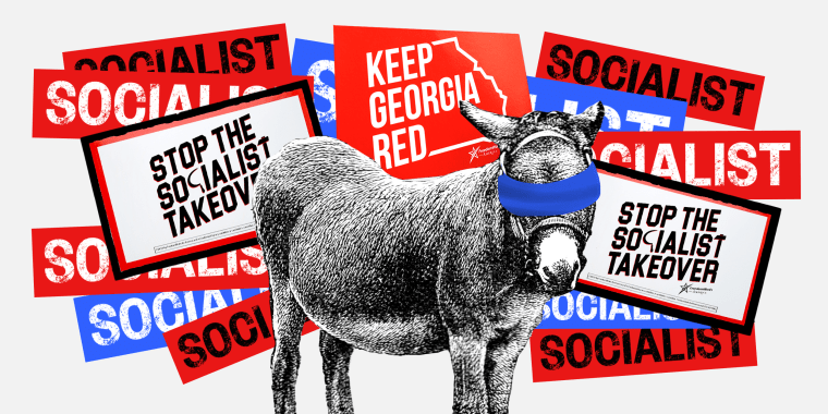 """Image: A donkey will a blue blindfold is surrounded by protest signs that read,\""""Socialist\"""", \""""Don't let the socialist takeover\"""" and \""""Keep Georgia Red\""""."""