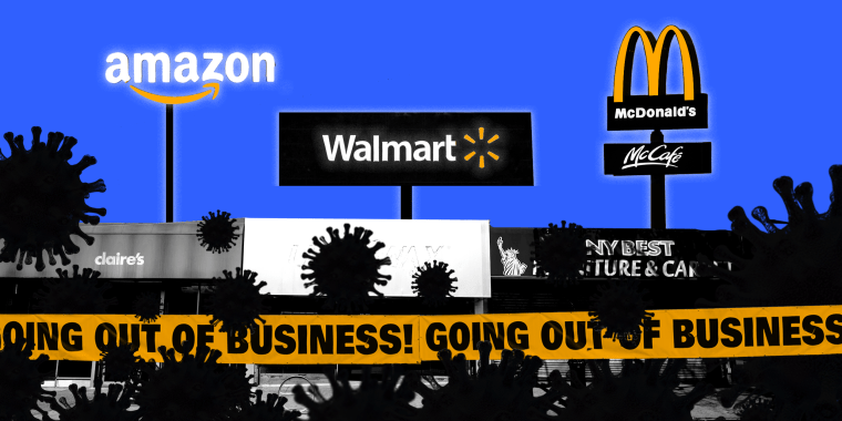 Image: Small businesses in the foreground are covered by COVID spores and corporates logos of Amazon, Walmart and McDonalds stand above them in the background.