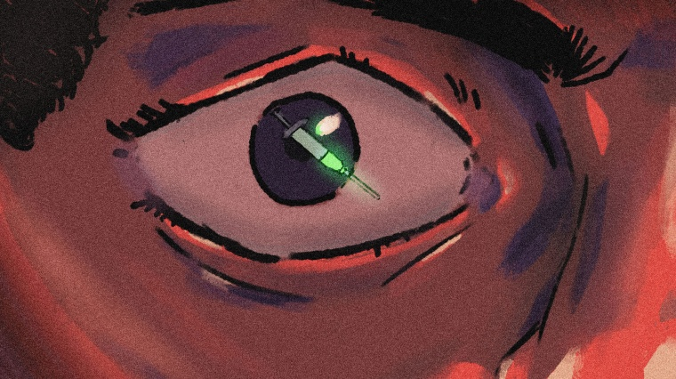 IMage: An illustration of a Black person's eye with a reflection of a syringe.