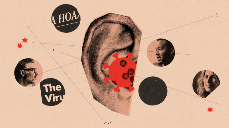 Illustration of ear with coronavirus spores and talking mouths.