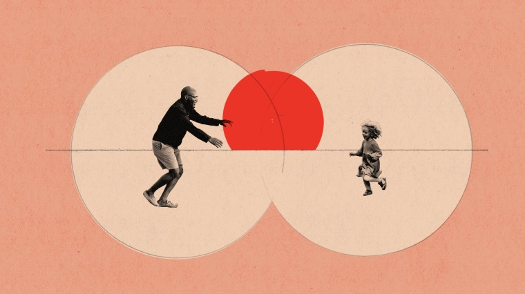 Illustration of father and child running toward each other in separate bubbles.