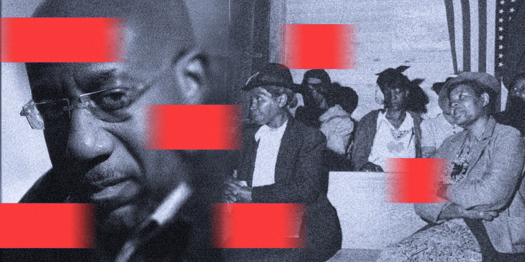 Image: Profile of Raphael Warnock fades into an old image of women at an African American church. The image has red moving blocks over it.