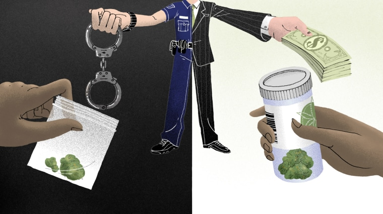 Image: A splitscreen of a police officer holding handcuffs and a man holding a stack of cash; on either side: a Black person's hand holding a baggie of marijuana and a Black person's hand holding dispensary marijuana