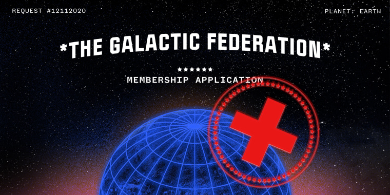 """Image: A red stamp with a cross over an image of earth in space. Small text at the top reads,""""request #12112020, PLANET: EARTH"""". Text above the earth reads,""""Galactic Federation, Membership Application""""."""