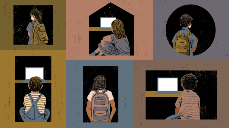 Image: Drawings of children alone in various windows, some looking at laptops, others have backpacks and wearing masks.