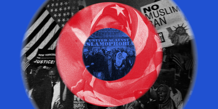 Image: Concentric circles of blue, black and white and red with images from protests against the muslim ban.