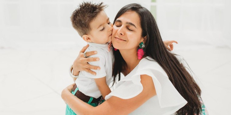 Margarita Saavedra hugs her son Federico who was born after she chose conservative management for placenta accreta.