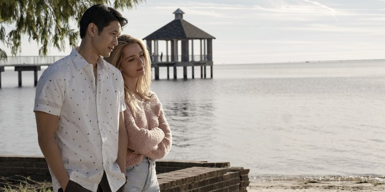 """Harry Shum Jr. as Solomon """"Sol"""" Chau and Jessica Rothe as Jenn Carter in """"All My Life."""""""