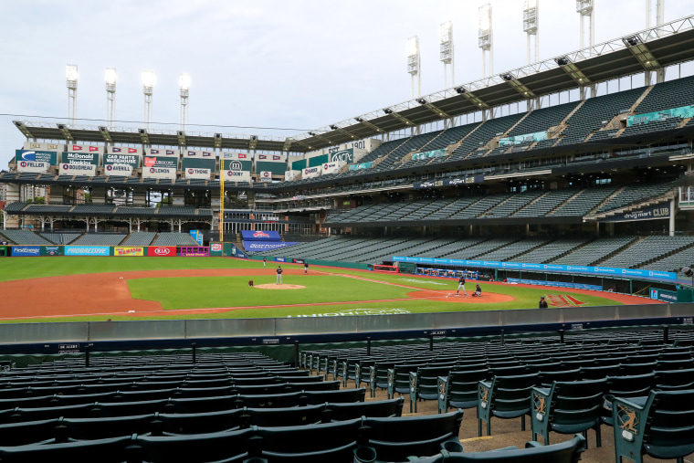 Image: Progressive Field during the Cleveland baseball team Summer Camp in preparation for a shortened MLB season during the coronavirus (COVID-19) pandemic