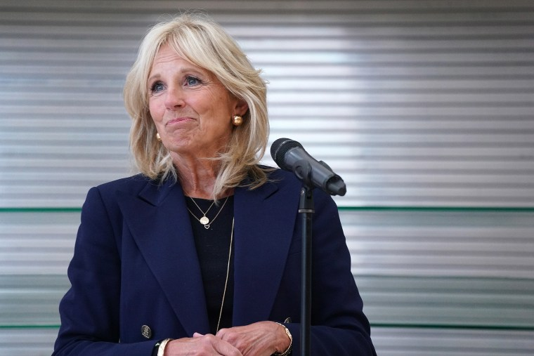 Image: Dr. Jill Biden took questions from reporters during a campaign stop at Jeffers Pond Elementary School, Prior Lake, Minn.