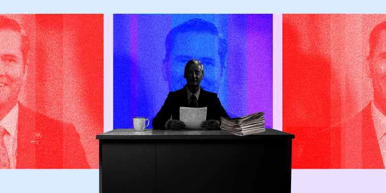 Image: A newsreader sitting at his desk in the foreground, red and blue portraits of Michael Waltz in the background
