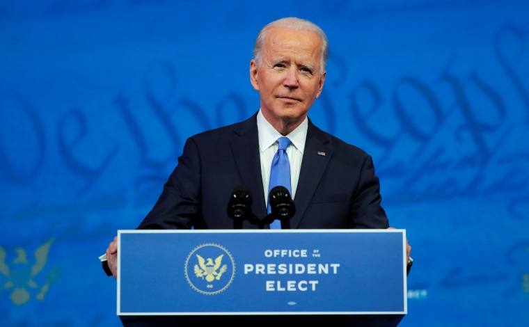 Image: President-elect Joe Biden pauses as he delivers a televised address to the nation at the Queen Theater in Wilmington, Del.