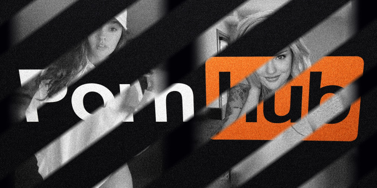 Image: Diagonal lines cut through the Pornhub logo to reveal images of two girls