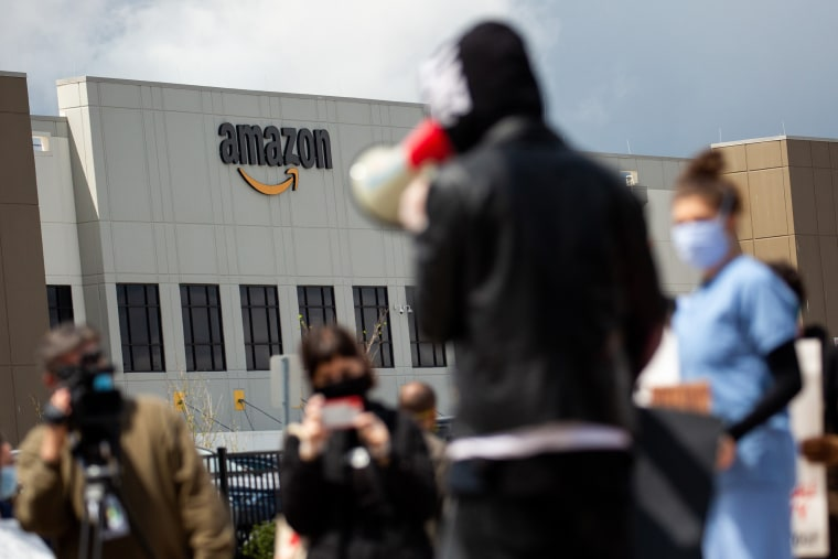 Protesters Strike On Essentials Workers Rights Outside An Amazon Facility