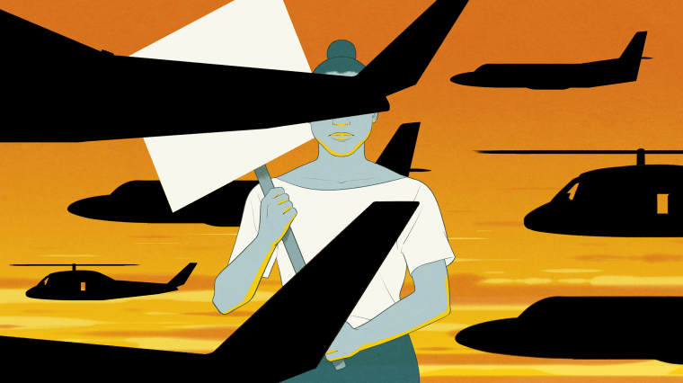 Image: A protester holding a sign is blocked by spy planes and spy helicopters against a sunset.