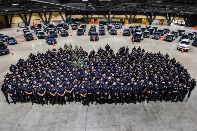 Long Beach Police held an event with hundreds of officers on Nov. 5, 2020.