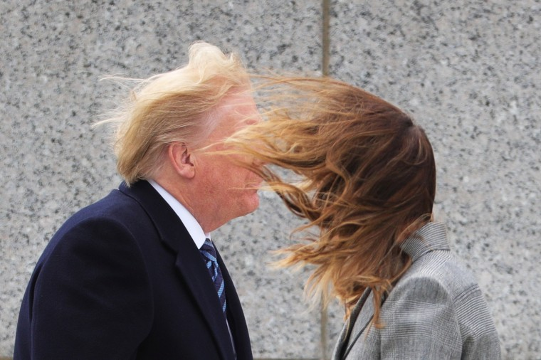 U.S. President Donald Trump and first lady Melania Trump attend a Victory in Europe Day 75th anniversary ceremony at the World War II Memorial in Washington