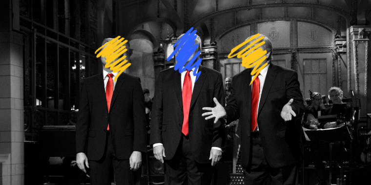Image: Blue and yellow scribbles cover the faces of three men on the Saturday Night Live stage wearing black suits and red ties.