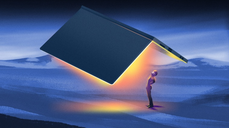 Image: A man wearing a mask is illuminated by the warmth of a massive laptop while standing in a cold, desolate scene.