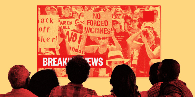 Image: A family watches news on screen where people are protesting vaccines.