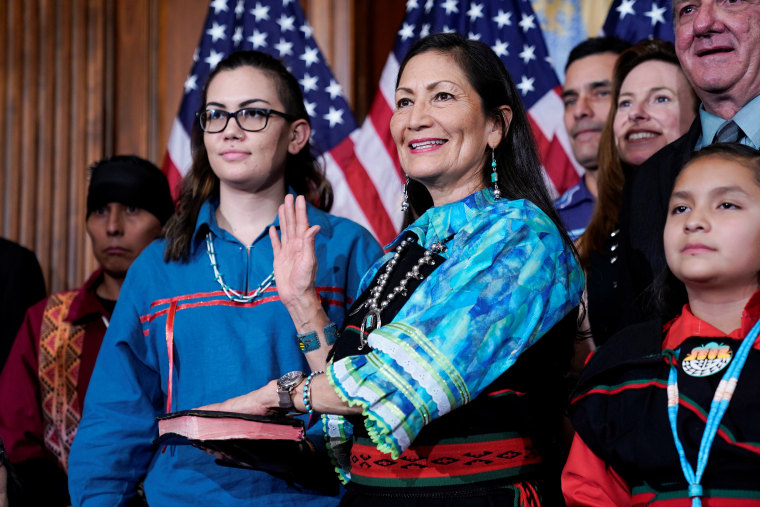 Rep. Deb Haaland (D-NM) poses with Speaker of the House Nancy Pelosi (D-CA) for a ceremonial swearing-in picture on Capitol Hill in Washington