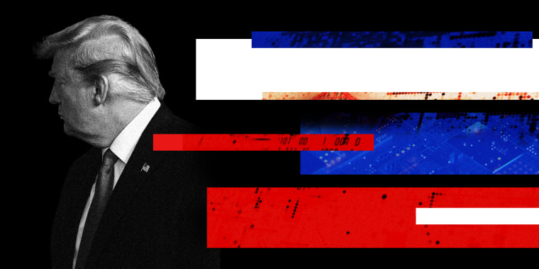 Image: Donald Trump looks away as blue, red and white strips layered with code comes from the other side.