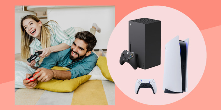Couple playing with video game controllers and cut out images of Xbox Series X and Playstation 5