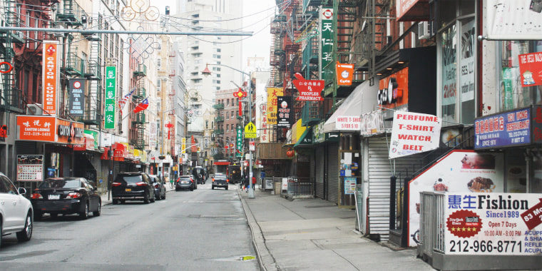 "Cookbook author Grace Young, who snapped this photo on April 18 while New York City was under lockdown, told TODAY she had never seen the city's Chinatown so deserted, ""without pedestrians (or) bumper-to-bumper car traffic."""