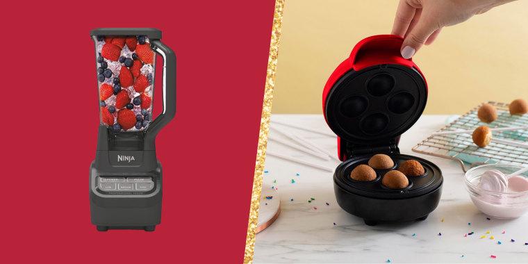 Illustration of Ninja Blender filled with fruit and Bella Mini Cake Pop Maker