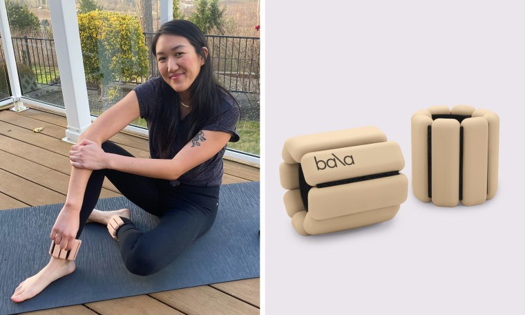 Illustration of Bala weights, and TODAY editor wearing Bala weights on her ankles while posing