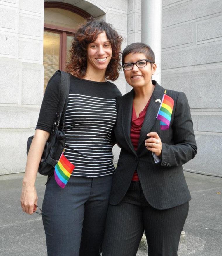 Gloria Casarez with her wife, Tricia Dressel.