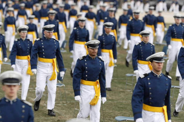 Cadets march to their seats to start the graduation ceremony for the class of 2020 at the U.S. Air Force Academy in Colorado on April 18.