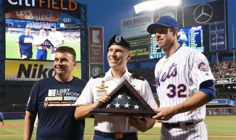 Image: Army Sgt. 1st Class Joshua Gravett honored at the Mets' first Pride Night in 2016.